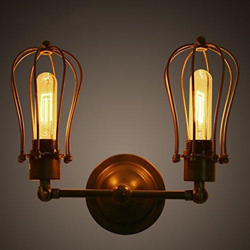 ZWL Rétro lampe murale en pamplemètre à la lampe Lampes de chevet, loft Industrie créative E27 Double tête 33 * 23cm Salle de séjour Lampe murale Bar Café Salon décoratif Balcon Escalier Eclairage de l'allée Eclairage Applique mode ( taille : 33*23CM )