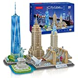 CubicFun 3D Puzzle Cityline New York Architecture Building Model Kits, Statue of Liberty, Empire State Building, Brooklyn Bridge, Chrysler Building 3D Puzzles for Adults and Children, 123 Pieces