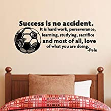 CECILIAPATER Wall Quotes Vinyl Decal, Success is No Accident, Pele Quote, Soccer Ball Decor, Soccer Quote, Soccer Decor, Sports Decor, Hard Work Quote