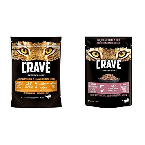 CRAVE Premium Trockenfutter mit Truthahn & Huhn für Katzen & Katzenfutter - getreidefreies, proteinreiches Nassfutter Pastete mit Lachs & Huhn, 24 Portionsbeutel (24 x 85g), 2040 g