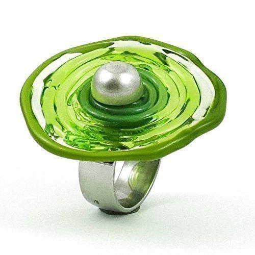 Edelstahl-Ring in Grün mit Scheibe aus Murano-Glas | passt immer | verstellbar (16-21) | Wechsel-Ring | Personalisiertes Geschenk für sie zu Valentinstag Jahrestag Hochzeit Geburtstag Mama