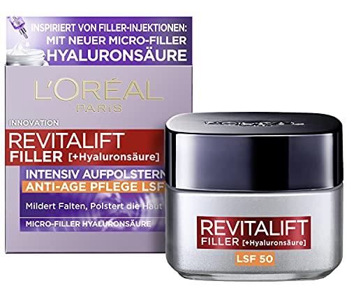 L\'Oréal Paris Hyaluron Tagescreme mit LSF 50, Anti-Aging Gesichtspflege mit Micro-Filler Hyaluronsäure für Feuchtigkeit und Anti Falten Effekt, Revitalift Filler, 1 x 50 ml