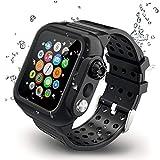 【2019新型】Apple Watch series4とseries5バンド Apple Watch液晶保護フィルム カバー 一体式 44mm対応 運動型 IP65防水 防塵 耐衝撃 傷防止