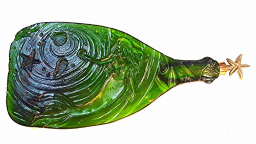 MERMAID flattened green bottle serving tray Wine Stopper Included!
