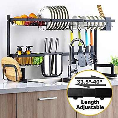 "Sincalong Over Sink Dish Singalong Stainless Steel Kitchen Drainer Drying, Sturdy Storage Shelf, Tableware Rack, Length Adjustable 33"" to 40"", L, Black by ADU"