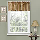 Traditions By Waverly Stripe Ensemble 52' x 16' Short Valance Small Window Curtains Bathroom, Living Room and Kitchens, Antique