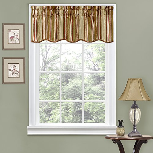"""Traditions By Waverly Stripe Ensemble 52"""" x 16"""" Short Valance Small Window Curtains Bathroom, Living Room and Kitchens, Antique"""