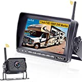 Rohent FHD 1080P Digital Wireless Backup Camera with 7' DVR Monitor High-Speed Observation System for RVs/Trucks/Trailers/Fifth Wheel IP69K Waterproof Super Night Vision-R12