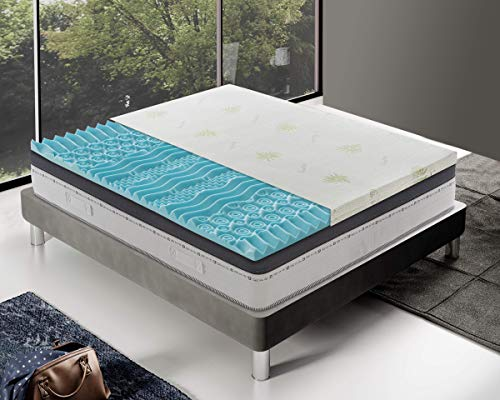 Materassiedoghe - Correttore Topper Singolo in Memory Foam SFODERABILE Alto 5 cm a 9 Zone differenziate Topper Letto...