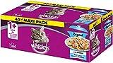 Whiskas Ragout 1 + Katzenfutter, Hochwertiges Nassfutter für gesundes Fell, Feuchtfutter in verschiedenen Geschmacksrichtungen