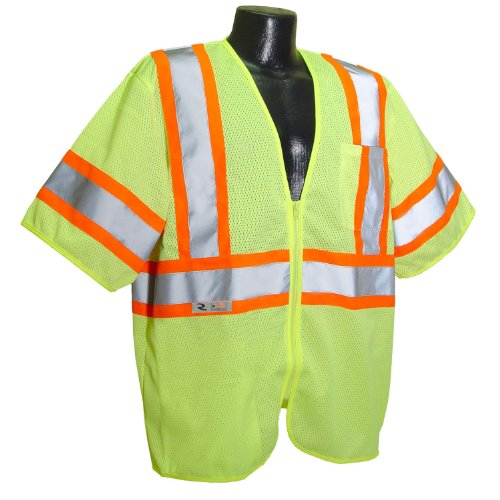 Radians SV22-3ZGM-XL Polyester Mesh Economy Class-3 Safety Vests with Two Tone Trim, X-Large, Green