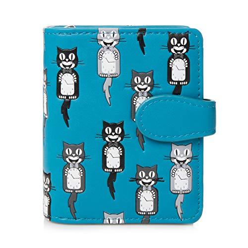 Shagwear ® Portemonnaie Geldbörse Damen Geldbeutel Mädchen Bifold Mehrfarbig Portmonee Designs: (Katze/Cats Clocks)