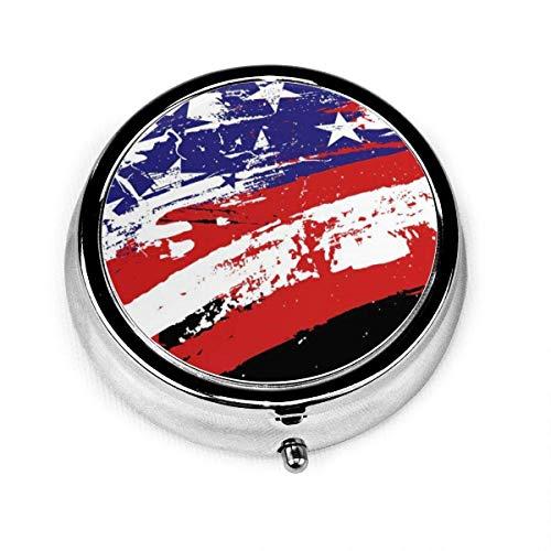 Art American Flag Patriot Love Vintage Novelty Round Pill Box Pocket Medicine Tablet Holder Organizer Case for Purse Unique Gift