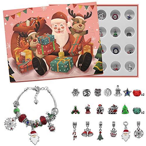 Charme Armband Adventskalender 2020 Weihnachtskalender, 24 bastelset Adventskalender, Überraschungen Armband Weihnachten Geschenk für Frauen und Kinde(Rose)