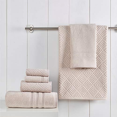 Amrapur Overseas 100% USA Grown Cotton Sterling Jacquard Turkish Made 6-Piece Towel Set, Tan