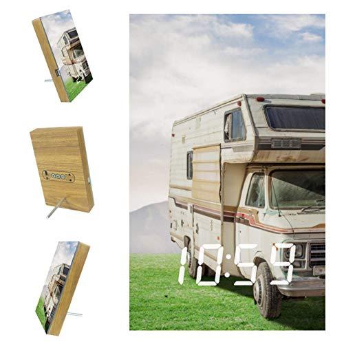 nakw88 Reloj despertador digital para coche, caravana, con puerto USB para cargar, oficina y decoración del hogar
