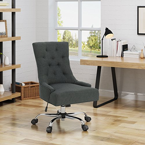 Christopher Knight Home Bagnold Desk Chair, Dark Gray + Chrome chair gaming gray