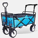 Wmeat-P Klappbar Strandwagen,Gartenkarre 360° drehbar ideal für Ausflüge Stand Festivals Garten...