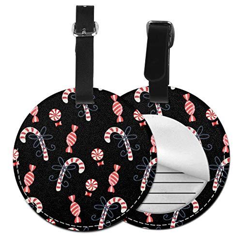 Etiquetas redondas para equipaje de piel con bastones de caramelo de Navidad, Negro (Negro) - Lp7bgrc-47236540