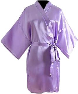Macondoo Womens Sleepwear Solid Color Bathrobe Lounge Silk Kimono Robe