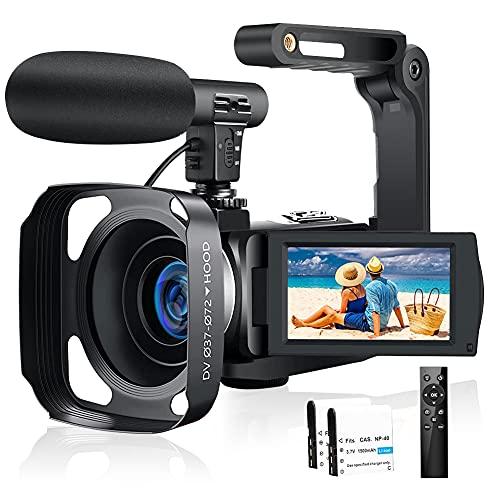 Videokamera 2.7K 30FPS Camcorder 30MP IR Nachtsicht Vlogging Kamera für Youtube mit 3.0 '' IPS-Bildschirm, Mikrofon, Handstabilisator, Fernbedienung