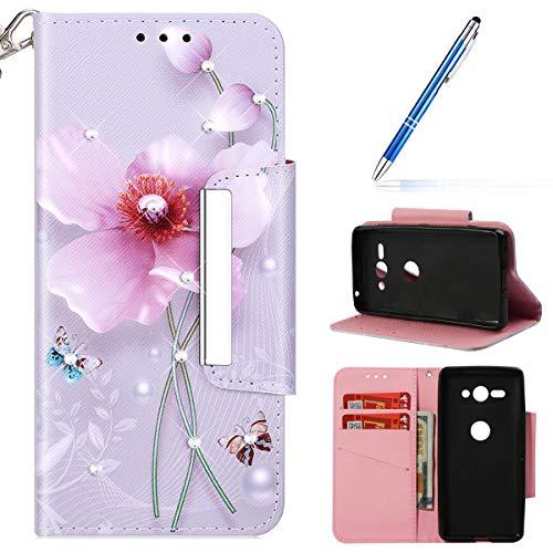 Compatible avec Sony Xperia XZ2 Compact Coque en Cuir Housse Pochette Portefeuille à Rabat,Étui de Glitter Paillette Brillante Diamant 3D Motif Flip Case Cover Wallet Intégrale Coque,Rose Fleur