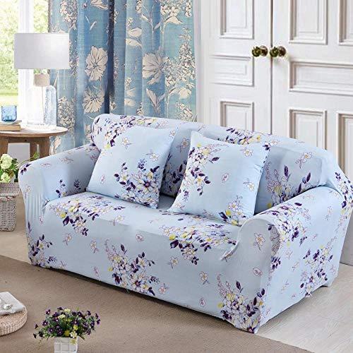 BSZHCT Elastischer Sofabezug Blume Bedruckte Pattern Sofabezüge Blau 1 Sitzer Antirutsch Stretchhusse Sofahusse Couchhusse mit 2 Zierkissenbezüge,für L Form Sofa Couch Sessel (90-140cm)