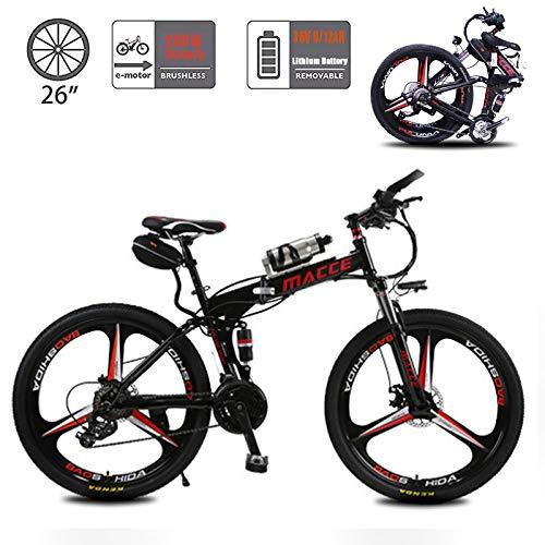 YMhome Bici elettrica, Pieghevole E-Bike con 36V Rimovibile di Carica Batteria al Litio / 21 velocità / 26inch Super Leggero, Urban Commuter Biciclette per Ault Uomo Donna,Nero