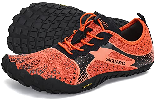 SAGUARO Hombre Mujer Barefoot Zapatillas de Trail Running Minimalistas Zapatillas de Deporte Fitness Gimnasio Caminar Zapatos Descalzos para Correr en Montaña Asfalto Escarpines de Agua, Naranja, 38