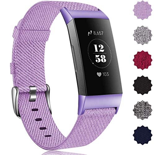 Maledan Bands Compatible with Fitbit Charge 4/Fitbit Charge 3/Charge 3 SE Fitness Activity Tracker for Women Men, Breathable Woven Fabric Replacement Accessory Strap Lavender, Small