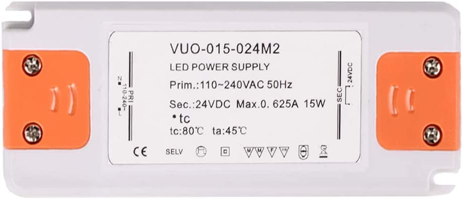 B Blesiya [1 Unidad 15 W 630 mA DC 24 V Ultra Delgado LED Fuente de alimentación LED Driver Transformador para Tira de Luces LED Bombillas