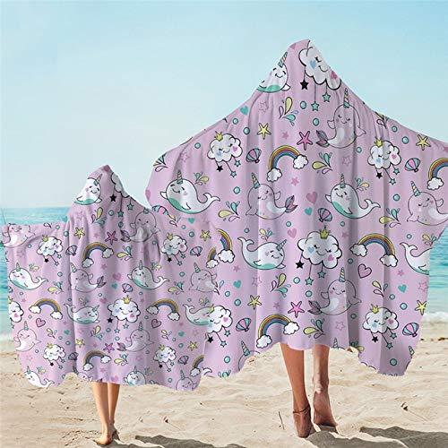 IAMZHL Toalla con Capucha Toalla de baño de Microfibra con Capucha para niños Manta de Abrigo de Playa usable de Dibujos Animados Florales para Adultos-a25-Kid 127X152cm 1PC