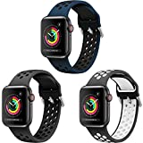 YPSNH Bands Compatible with Apple Watch 38mm 40mm 42mm 44mm, Soft Silicone Breathable Replacement Wristband Sport Strap Men and Women for iWatch Series 6/5/4/3/2/1/SE/Nike