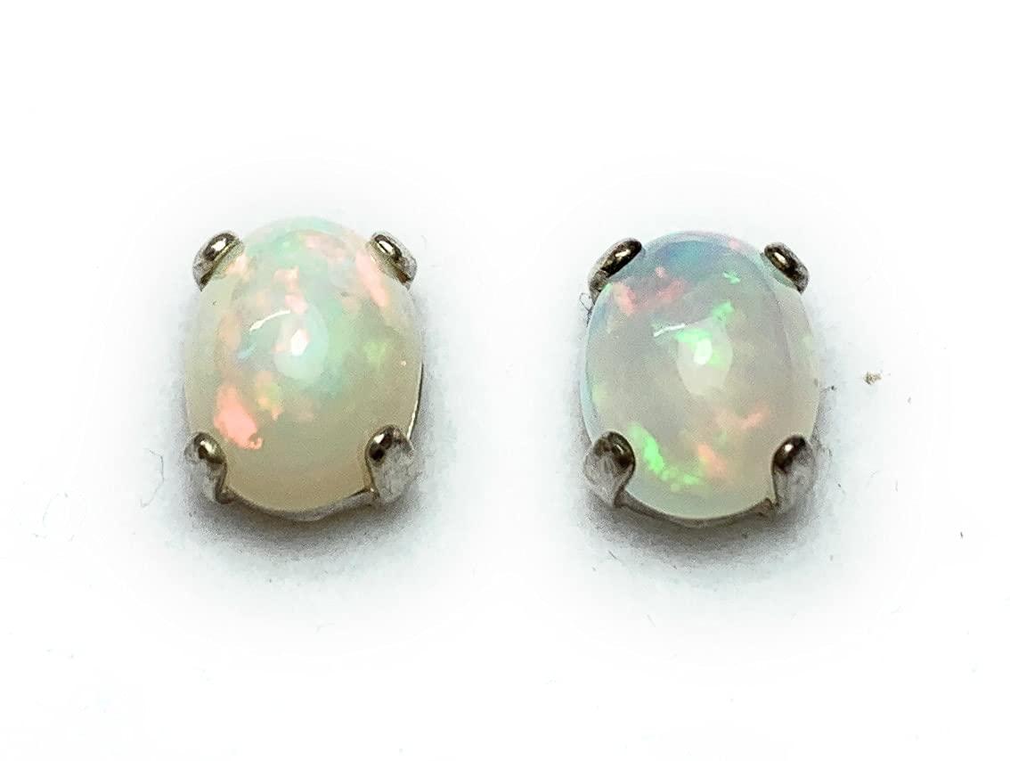 Special sale item Opal Earrings 2.47 Carat Solid Cabochon Sterli Popular overseas Oval Studs