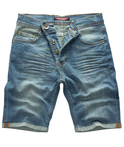 Rock Creek Herren Shorts Jeansshorts Denim Short Kurze Hose Herrenshorts Jeans Sommer Hose Stretch Bermuda Hose Blau RC-2211 Dirtyjean W42