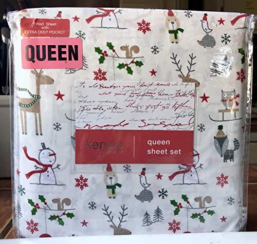 Kensie Home Christmas Holiday Snowman Winter Sheet Set - Queen Size (owl Bear Fox)