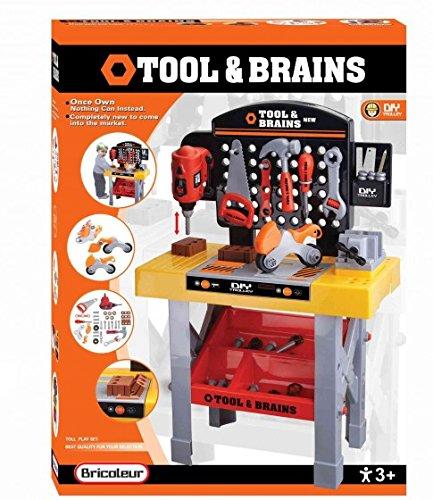 Spielwerkbank, Werkzeug-Set, Kinderspiel-Werkbank, mit reichhaltigem Zubehör