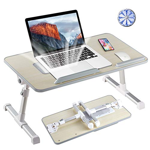 8AM Adjustable Laptop Stand Portable Laptop Table with Foldable Legs Notebook Computer Desk for Laptop Reading and Writing Lap Tray for Eating in Bed Sofa Couch Floor (Wood, Large)