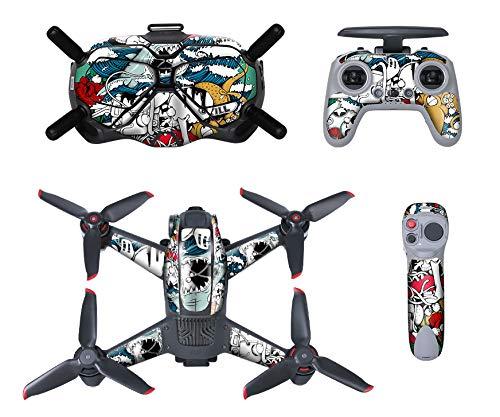MotuTech - Adesivo per DJI FPV Combo Drone Casco V2 Tadiocomando controllo di movimento Skin rimovibile antigraffio protezione (7 la navigazione)