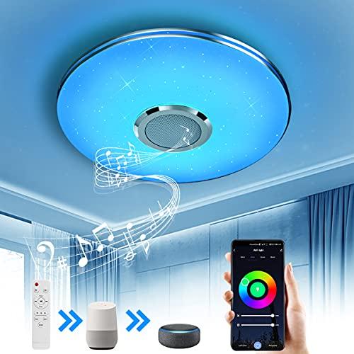 Wayrank Lámpara de Techo Led con Altavoz Bluetooth,36W Plafon Led Techo RGB Controlada por APP y Control Remoto para Cocina Dormitorio, Compatible con Alexa Google Assistant, 36W