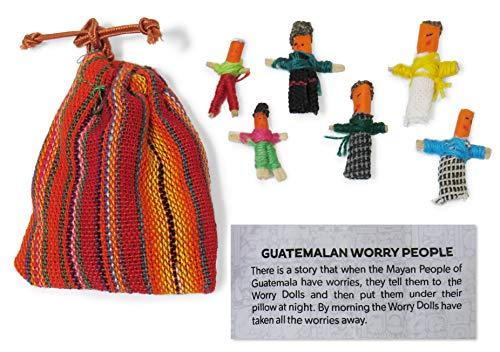 Sorgenpüppchen,Guatemaltekisch,Beuel Mit 6Handgefertigten Kleinen Puppen