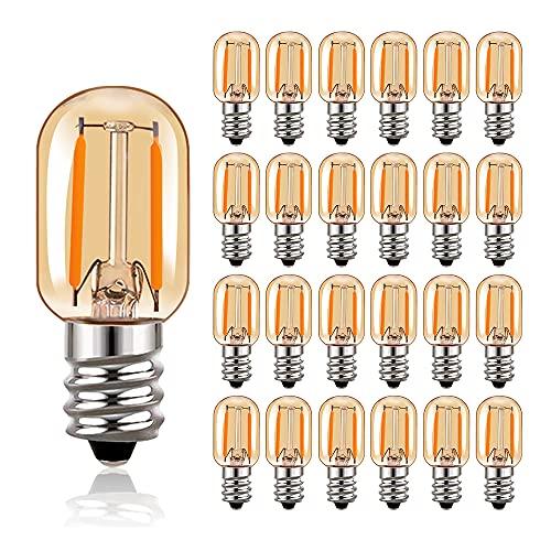 Bombilla de filamento LED T22 Bombillas tubulares Edison de vidrio ámbar Vintage E14 220V, equivalente a 10 vatios 2200K Bombillas blancas ultra cálidas, 100 lúmenes no regulables, paquete de 25