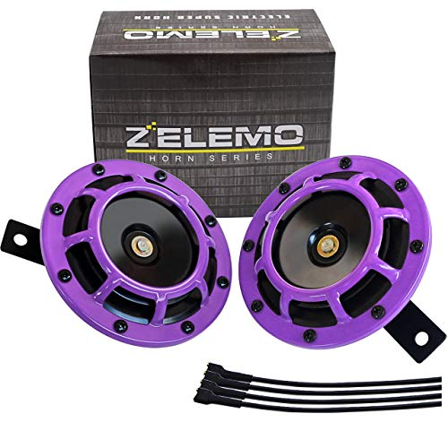Eletric Car Horn Kit 12V Super Loud High Tone and Low Tone Metal Twin with Purple Protective Grill...
