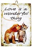 KUSTOM ART Cuadro de estilo vintage, serie de animales (perros y gatos) L'Amore es una cosa maravillosa impresión sobre madera