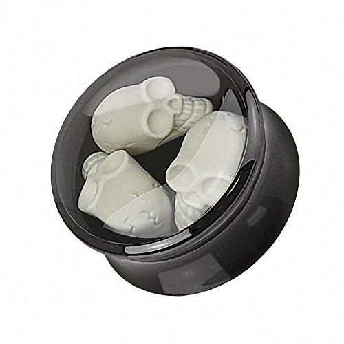 Piercingfaktor Ohr Plug Flesh Tunnel Piercing Ohrpiercing Kunststoff Double Flared mit 3D Totenschädel Inlay Schwarz Weiß 10mm
