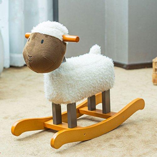 Cheval à bascule cheval de Troie pour enfant jouet solide chaise berçante en bois cadeau 23.5X60X47cm -LI JING SHOP (Couleur : Blanc)