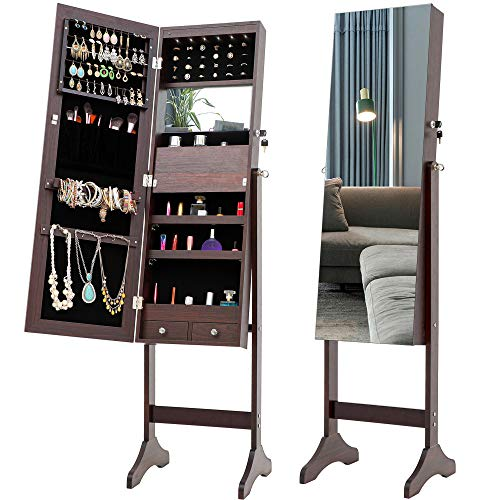 Yiying Full Length Standing Mirrored Lockable Jewelry Storage Organizer Cabinet Armoire with 6 LED Interior Lights, Jewelry Cabinet with Drawers, 3 Angle Adjustments, Velvet Lining (Brown)