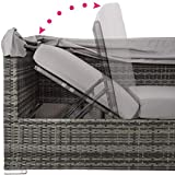 TecTake 800771 Aluminium Poly Rattan Lounge Set, 16-teilig, wetterfest, Garten Sofa mit Sonnendach, Outdoor Sitzgruppe inkl. Kissen und Beistelltisch – Diverse Farben – (Grau | Nr. 403237) - 6