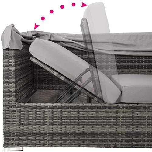 TecTake 800771 Aluminium Poly Rattan Lounge Set, 16-teilig, wetterfest, Garten Sofa mit Sonnendach, Outdoor Sitzgruppe inkl. Kissen und Beistelltisch - Diverse Farben - (Grau | Nr. 403237) - 6