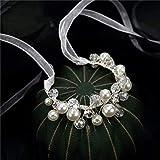 weichuang Elegante pulsera de novia artificial con flores y perlas 2021 para baile de graduación, accesorio de ramillete (color: blanco)